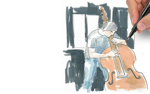 Watercolor man playing instrument