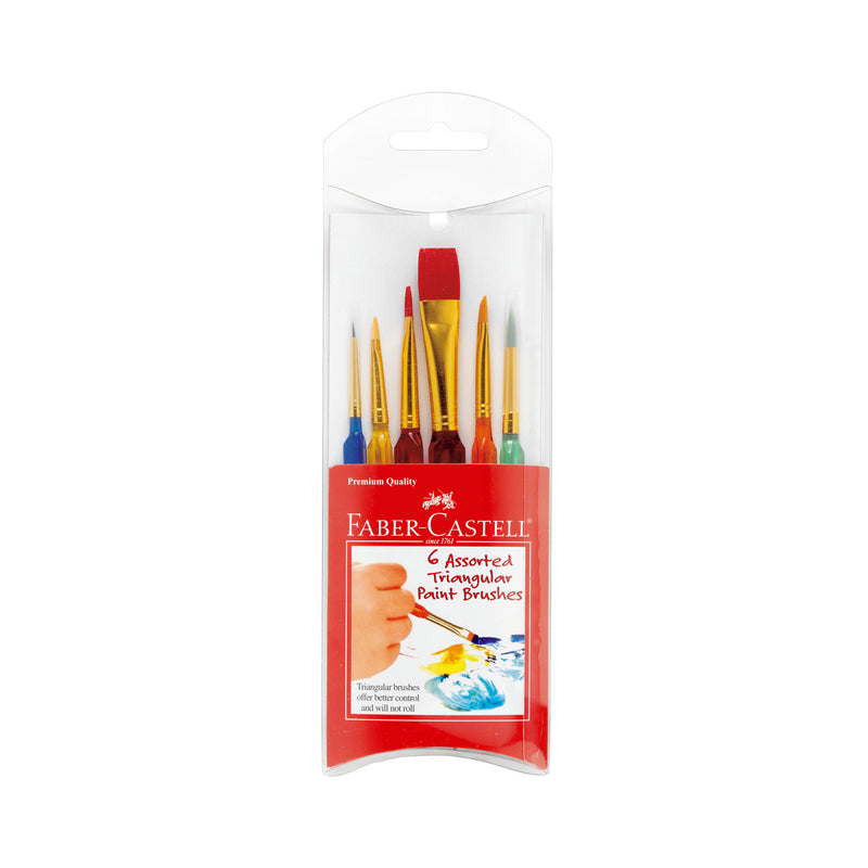 6 Assorted Triangular Paint Brushes - #14532