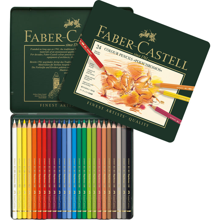 Polychromos® Artists' Color Pencils - Tin of 24: Polychromos® Artists' Color Pencils are available in 120 colors that are part of a unique color matching system - encompassing all Faber-Castell Art & Graphic products. They contain the highest quality pigments for unsurpassed lightfastness, which is rated on each pencil. They have a buttery smooth color laydown and can be easily blended for layered effects, highlights and transitions. Thick 3.8mm leads are break and water-resistant, smudgeproof and provide permanent, rich color. Provides sharp fine lines and excellent point retention. Available as individual pencils or in various assorted sets.