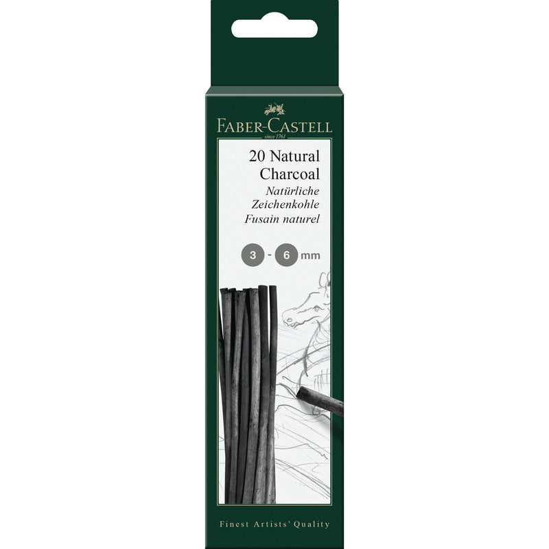 Pitt® Natural Willow Charcoal - 20 Sticks (3-6mm) - #129198