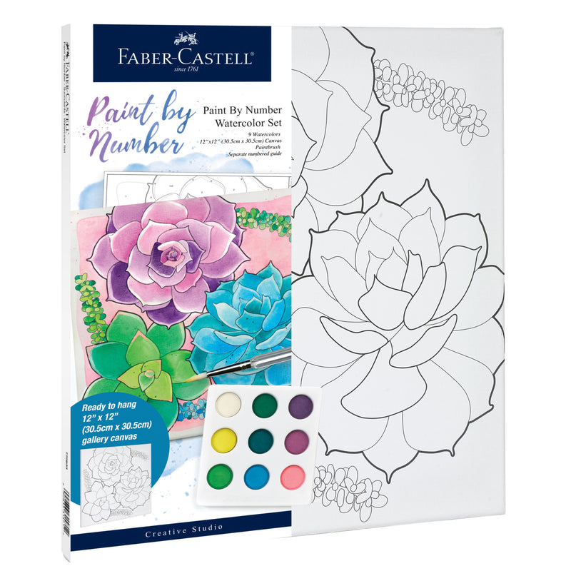 Watercolor Paint by Number Succulents - #770633