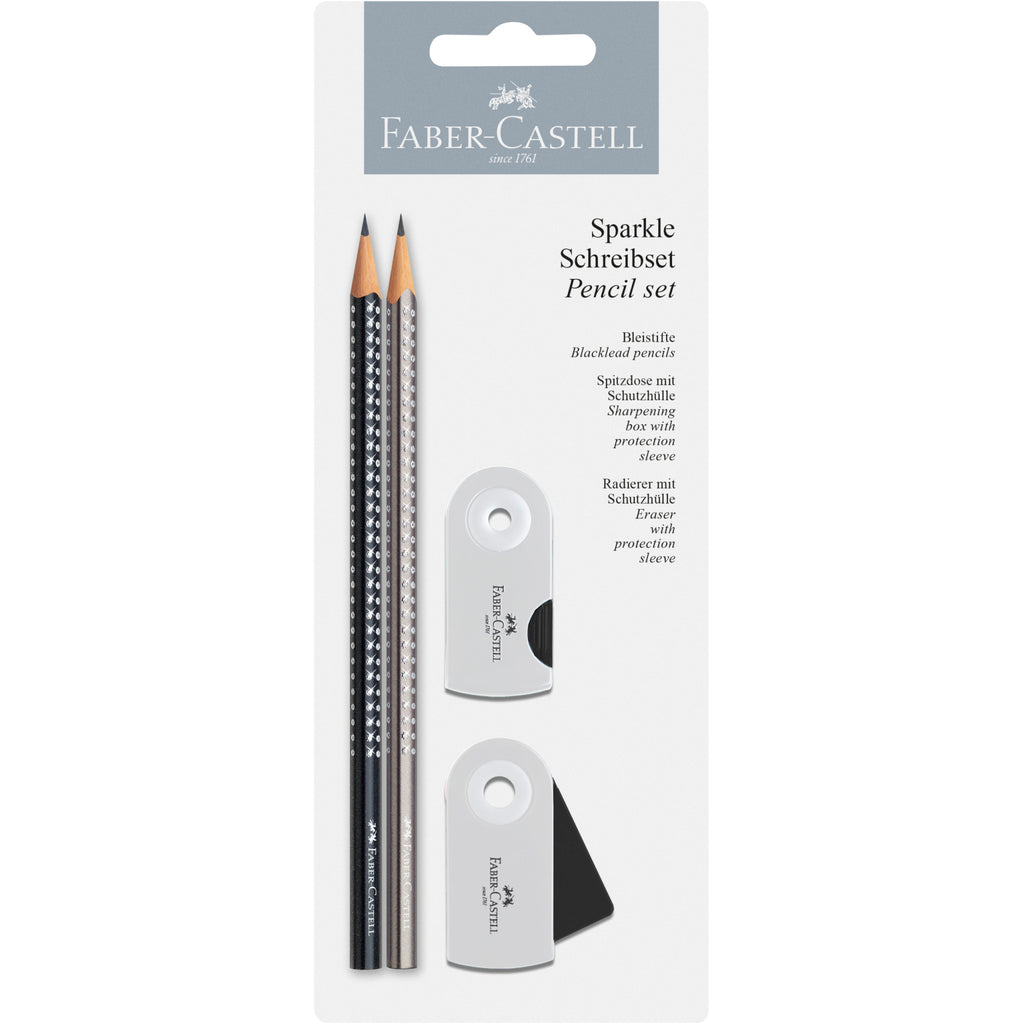 Sparkle Pencil Set on Blistercard - Silver and Black
