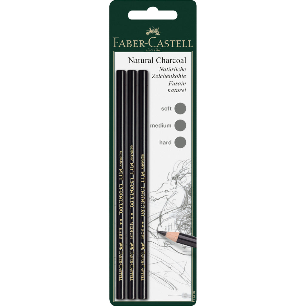 Pitt® Natural Charcoal Pencils - Set of 3 (Soft, Medium, Hard)