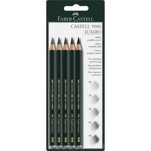 Castell® 9000 Jumbo Graphite Pencil - Package of 5 - #119397