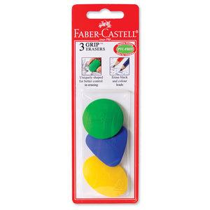 3ct Grip Eraser Blister Card