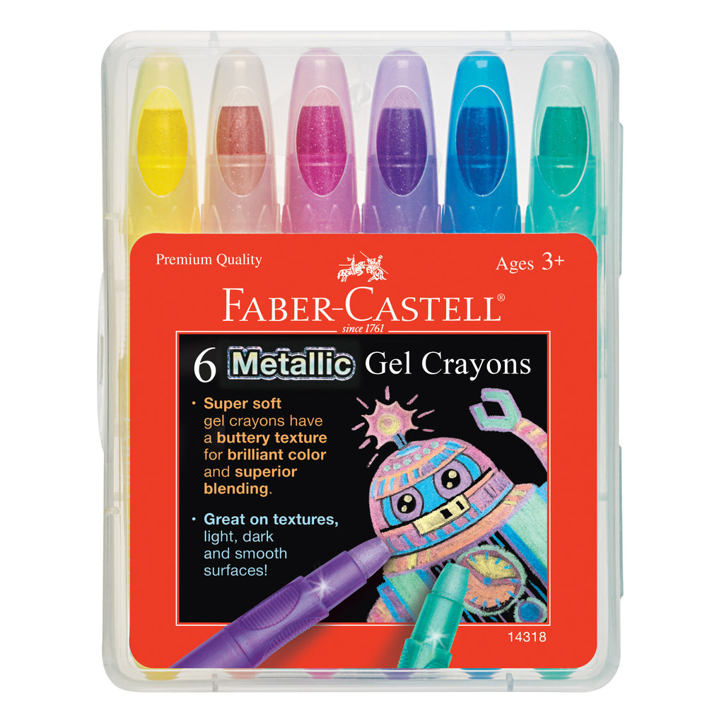 6 Metallic Gel Crayons in Storage Case - #14318