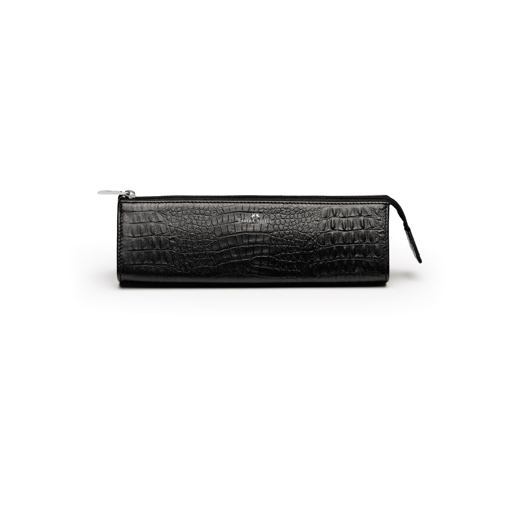 Leather Accessory Case, Black Croco - Medium - #189358