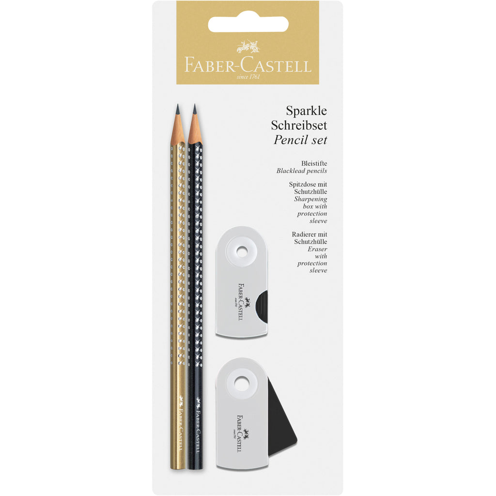 Sparkle Pencil Set on Blistercard - Gold and Black