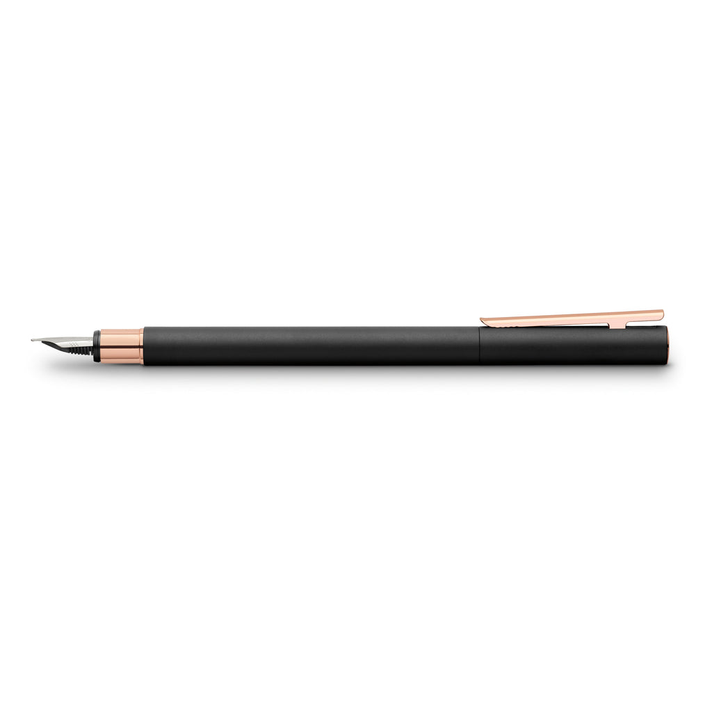 NEO Slim Fountain Pen, Black Matte and Rose Gold - Broad - #343103
