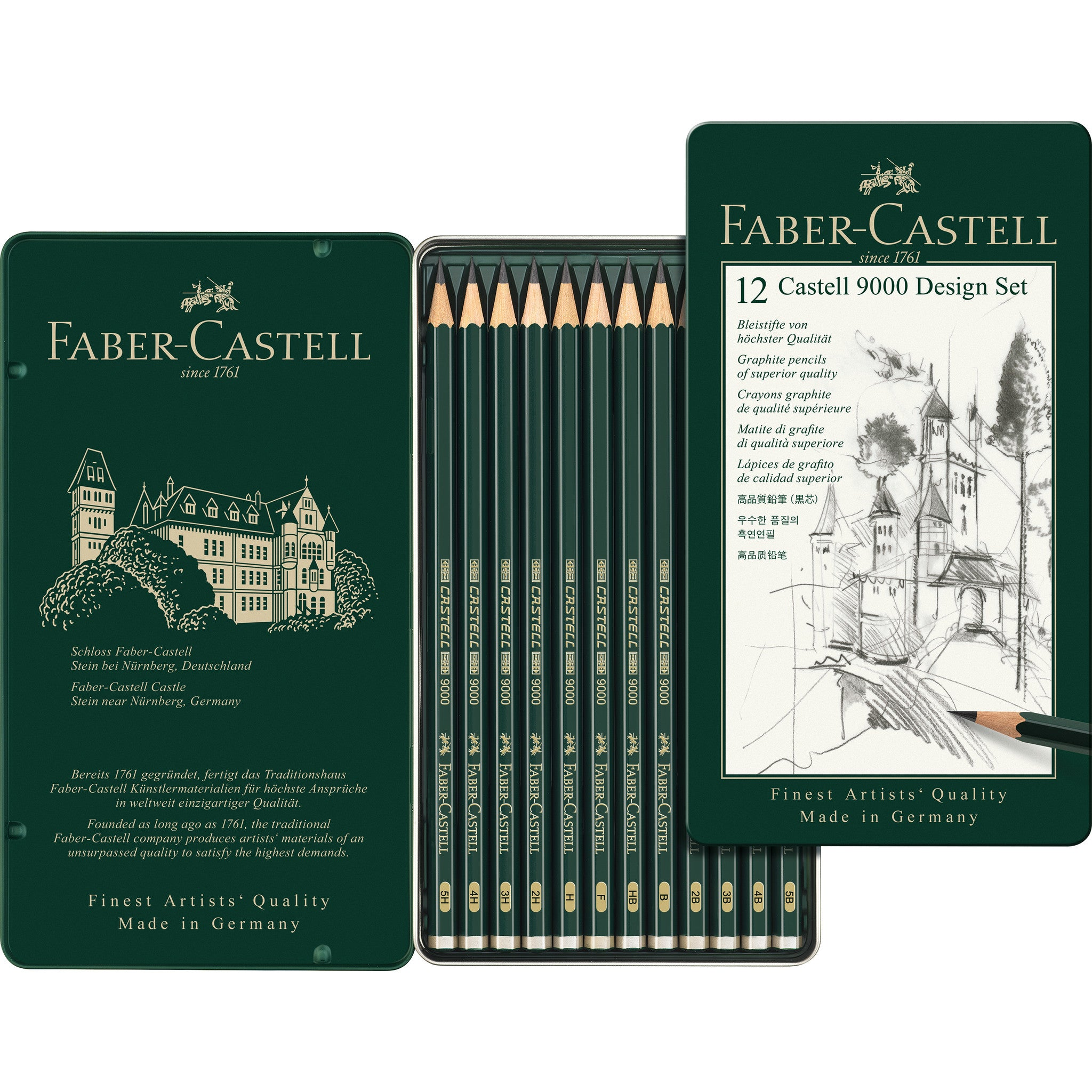 #119064 Faber Castell Tin of 12 Castell 9000 Graphite Pencils Artists Design Set