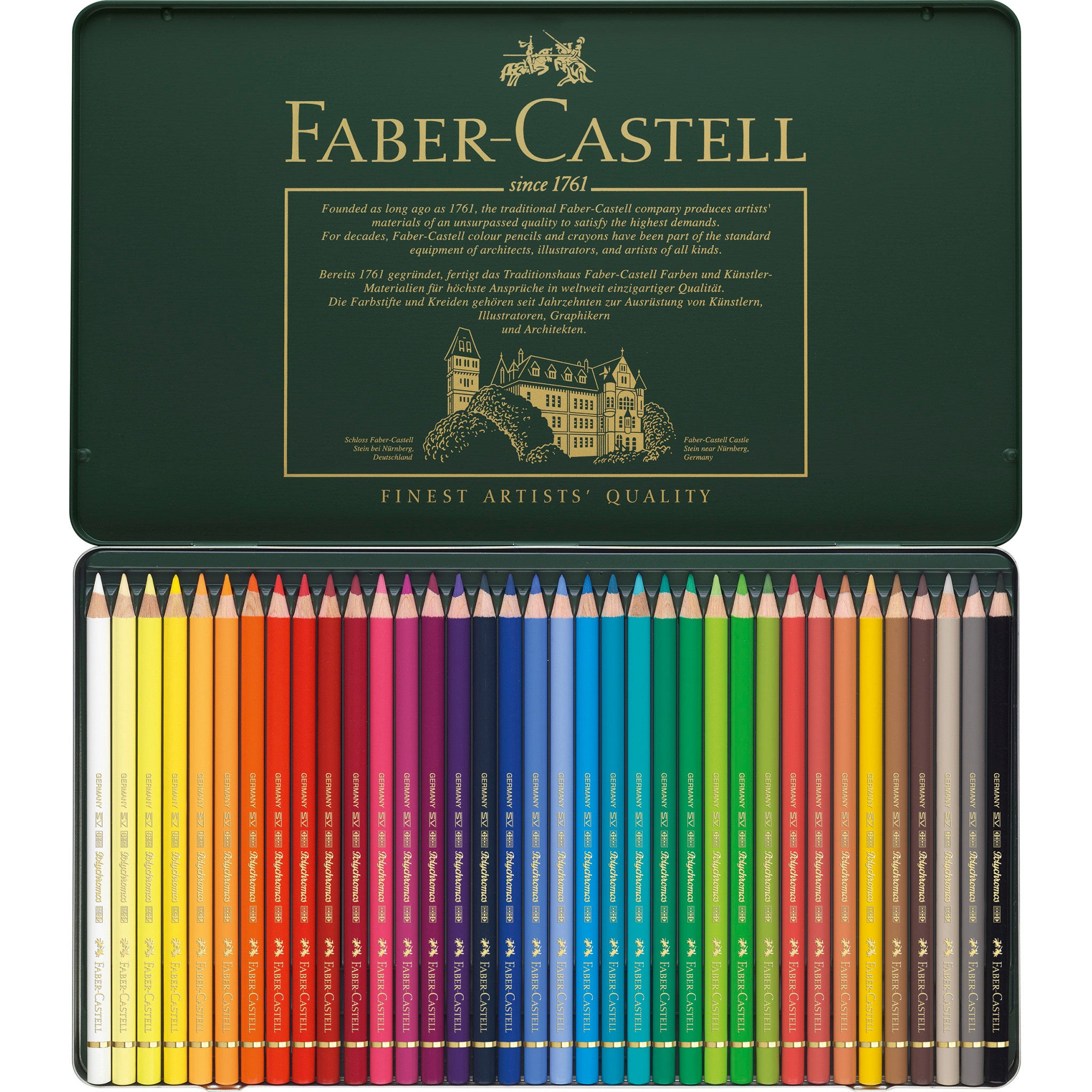 Polychromos Artists Color Pencils Tin Of 36 110036 Faber