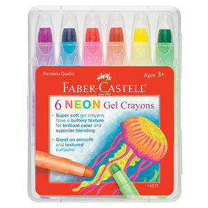 6 Neon Gel Crayons in Storage Case - #14317