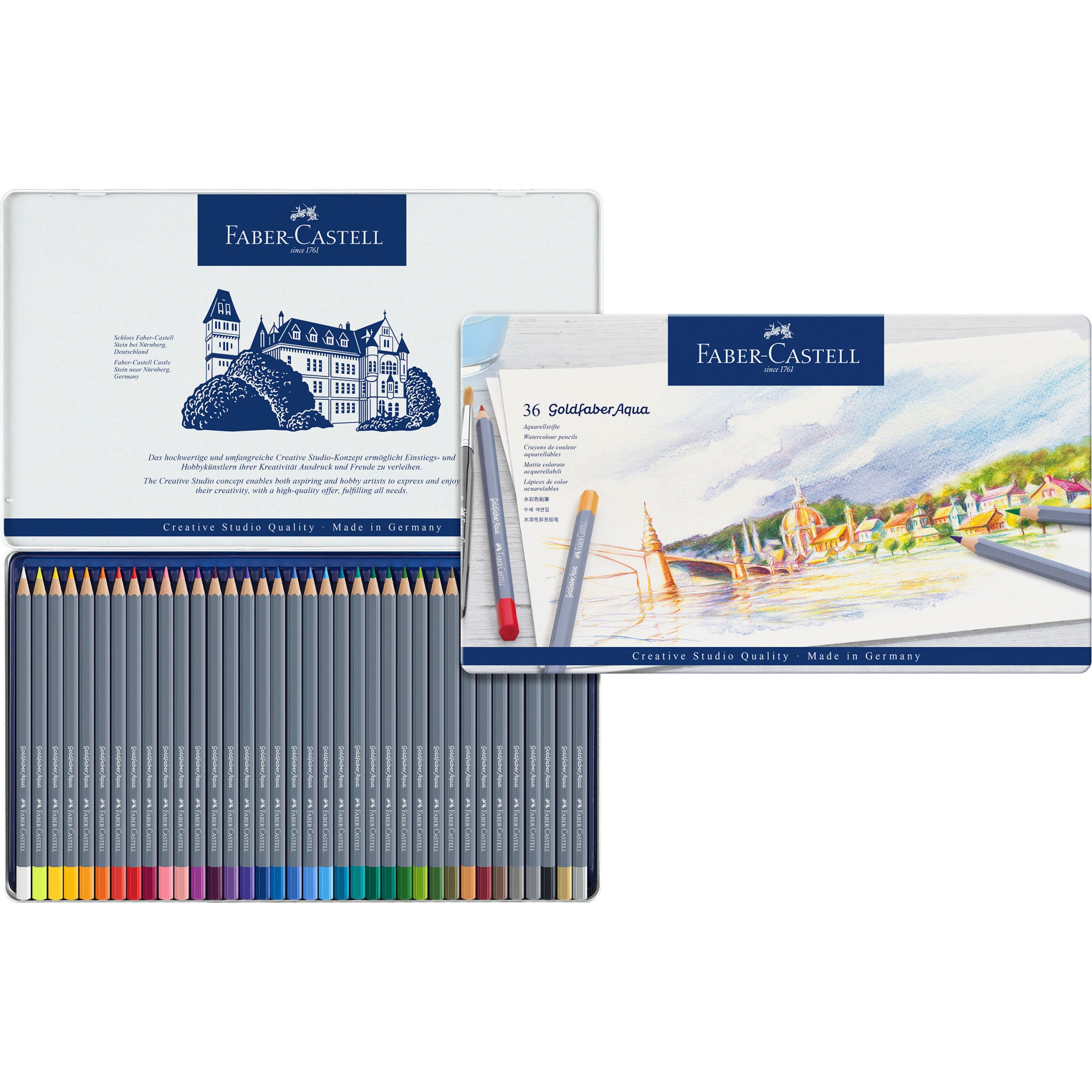Goldfaber Aqua Watercolor Pencils Tin Of 36 114636 Faber