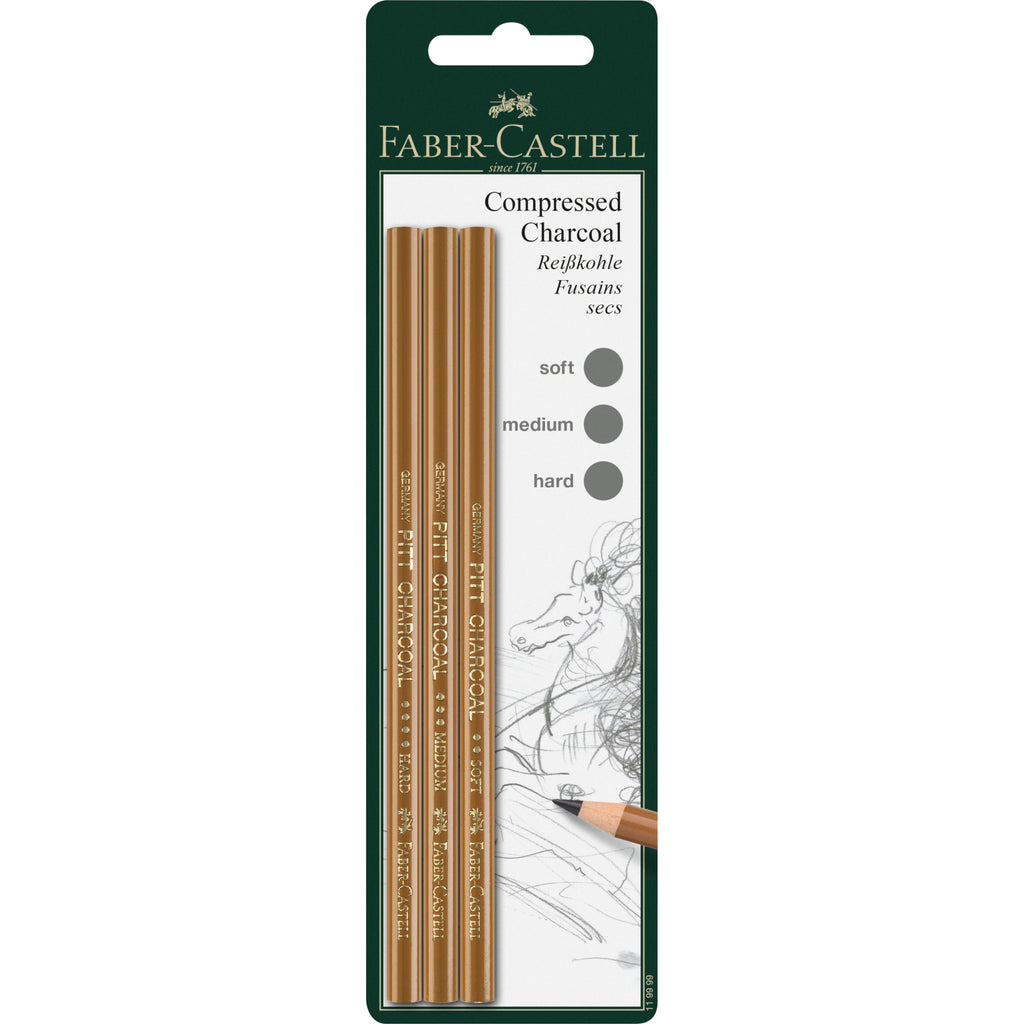Pitt® Compressed Charcoal Pencils - Set of 3 (Soft, Medium, Hard)