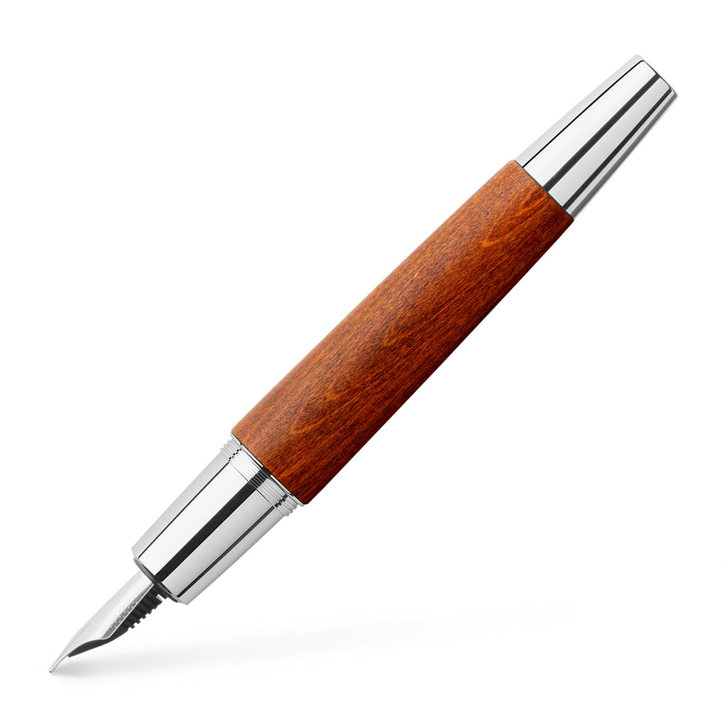 e-motion Fountain Pen, Wood and Chrome Brown - Medium - #148200