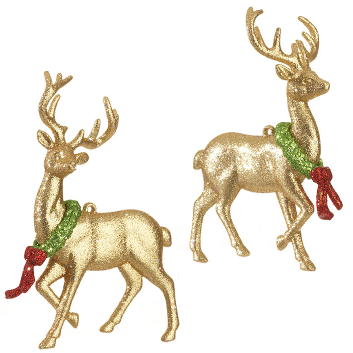 Gold Reindeer with Wreath Ornament