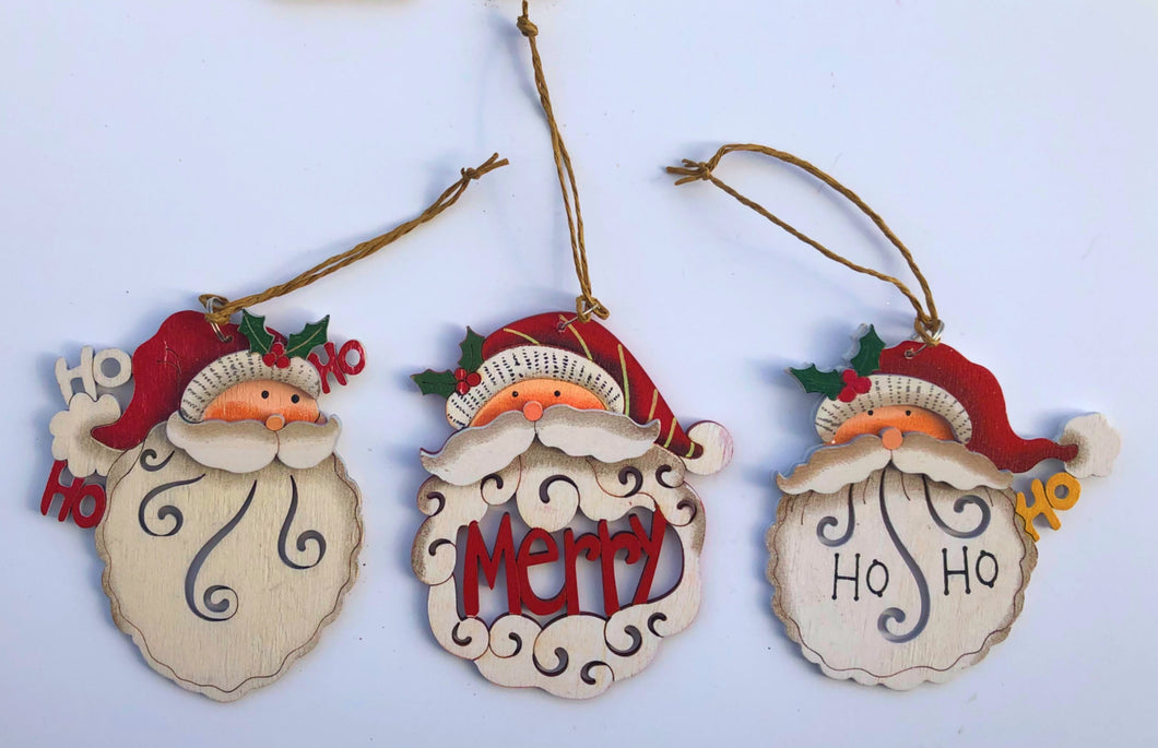 Wooden Santa Head Ornaments