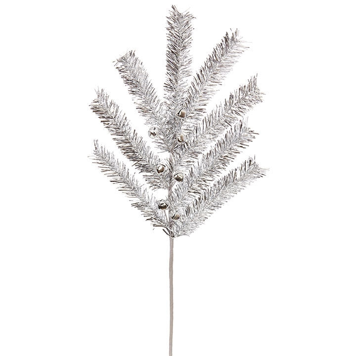 Silver Tinsel Spray with Bells #F3831016