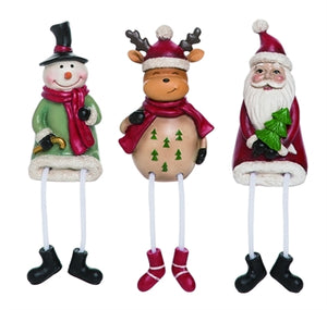 Santa, Snowman or Moose Shelf Sitter, 3 Asst #Y5429
