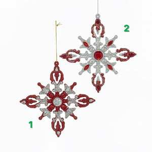 Red & Silver Glitter Snowflake Ornament