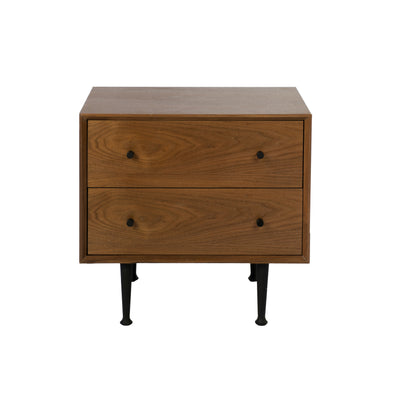 Metro Nightstand 2 Drawers Walnut Veneer