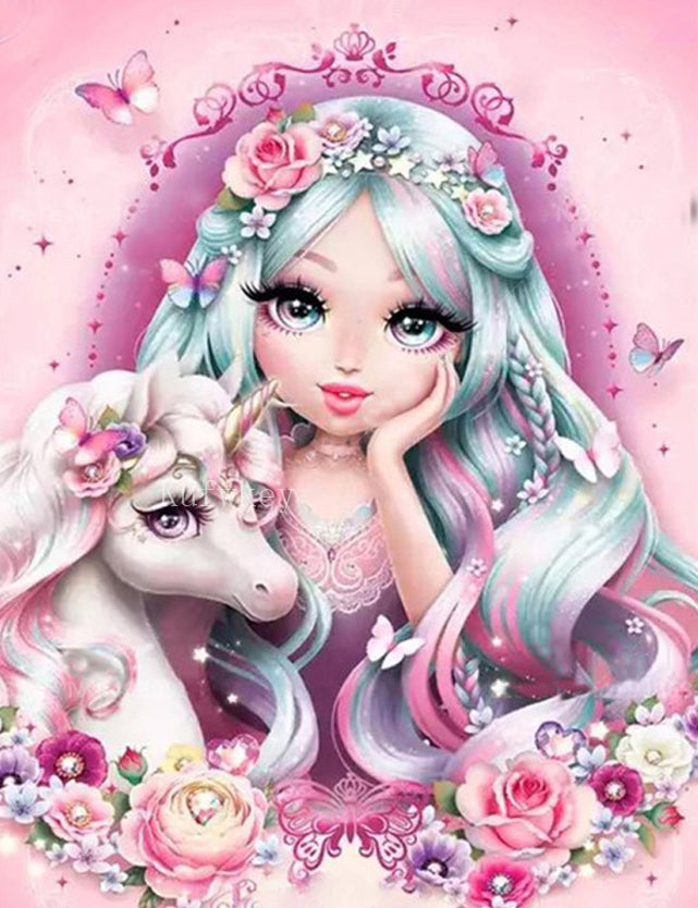 Princess and the Magical Unicorn-DIY Diamond Painting