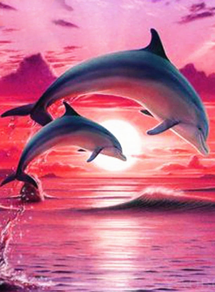 Dolphins in a Sunset-DIY Diamond Painting