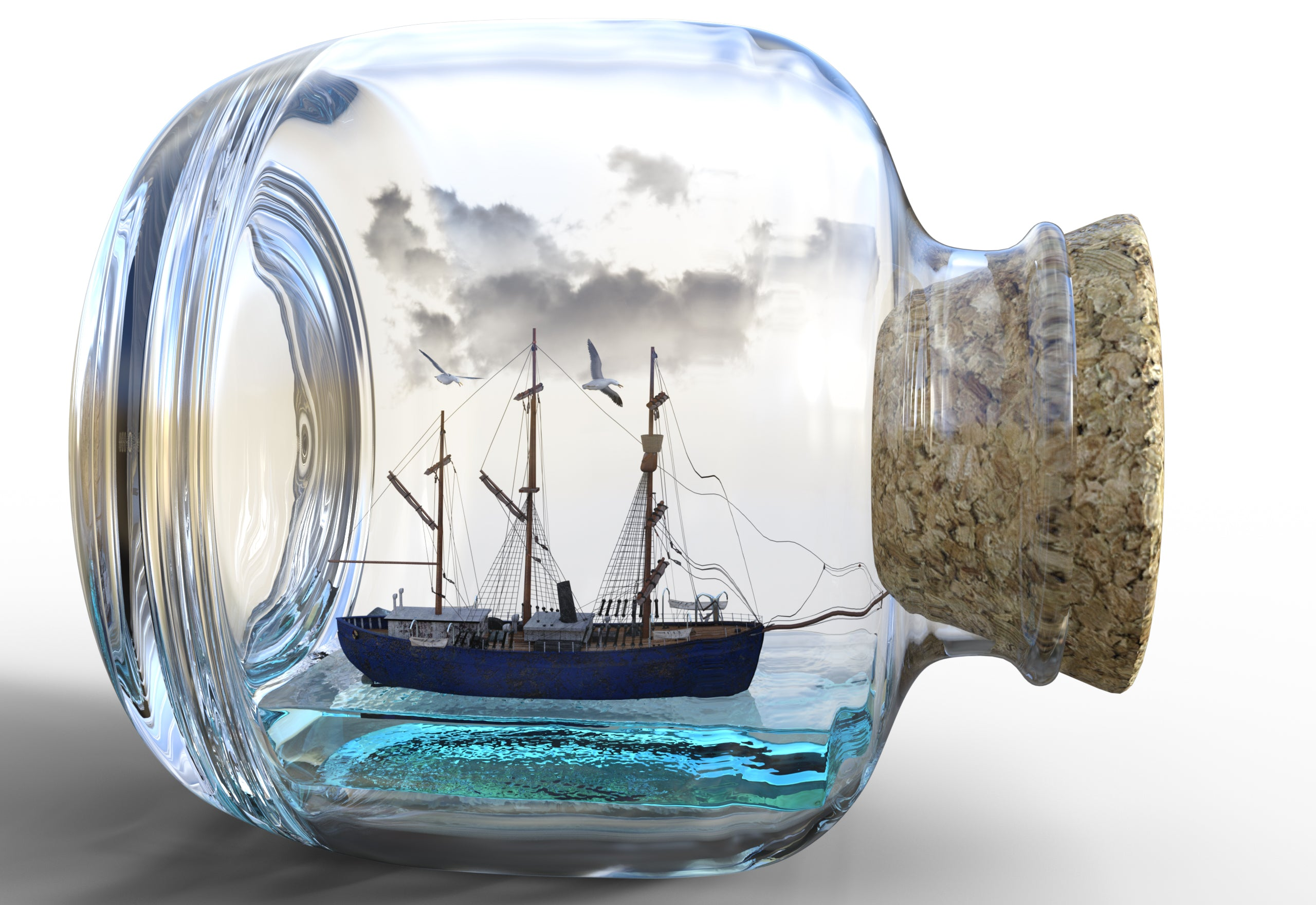 Glass Boat in a Bottle-DIY Diamond Painting