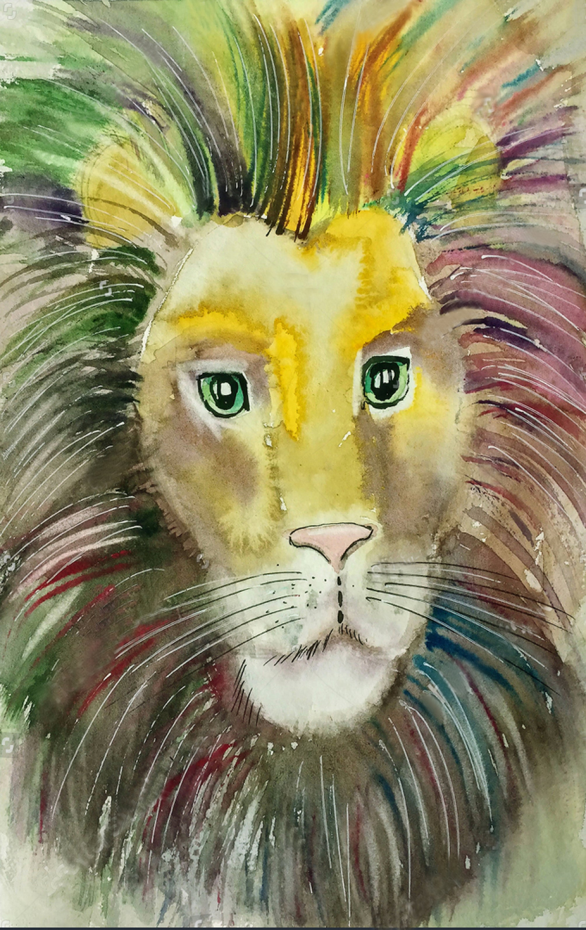 Painted Lion Head
