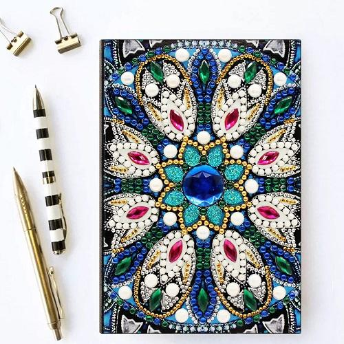Blue Flourish Diamond Painting Notebook