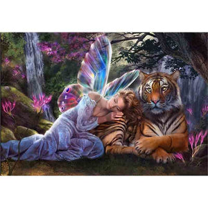 Magical Fairy & Tiger-5D DIY Diamond Painting , Diamond Painting kit