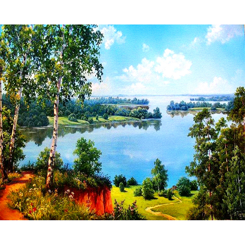 Blue Lake & Blue sky-DIY Diamond Painting