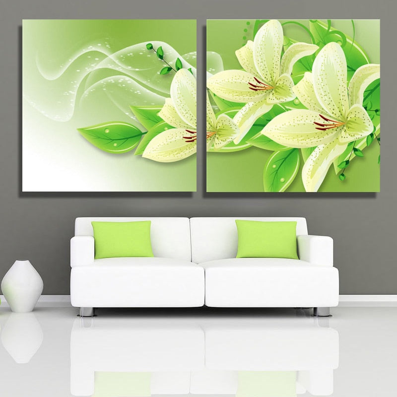 Green Lily Flowers-5D DIY Diamond Painting , Diamond Painting kit