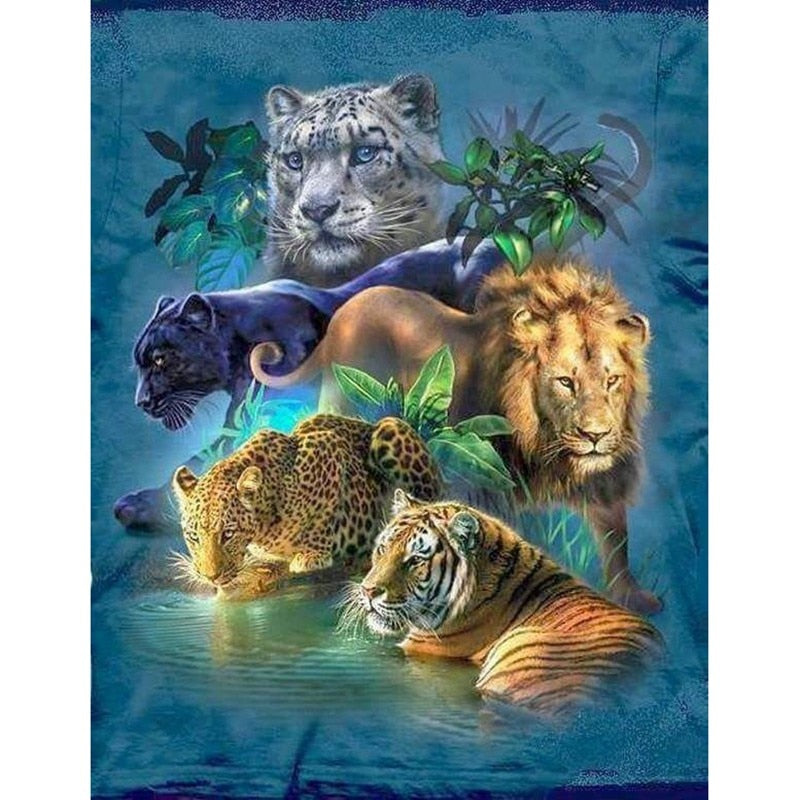 Cats of the Jungle-5D DIY Diamond Painting , Diamond Painting kit