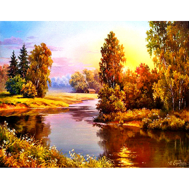 Sunset by the River-DIY Diamond Painting