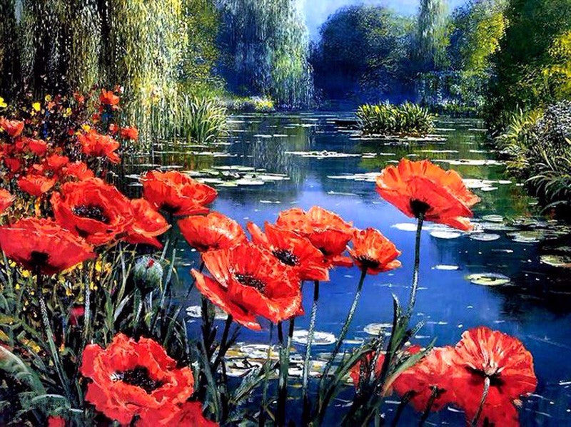 Poppy Flowers on Lake-5D DIY Diamond Painting , Diamond Painting kit