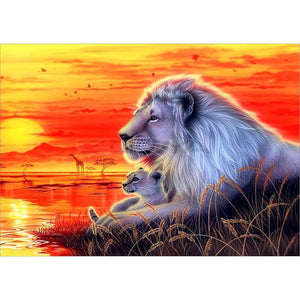Lions on The Sunset-DIY Diamond Painting
