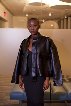 Anti-Symetrical Faux Leather Jacket