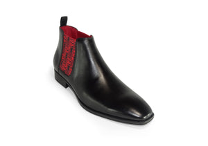 Black Mens Chelsea Boot - DFTC Pattern - quart view