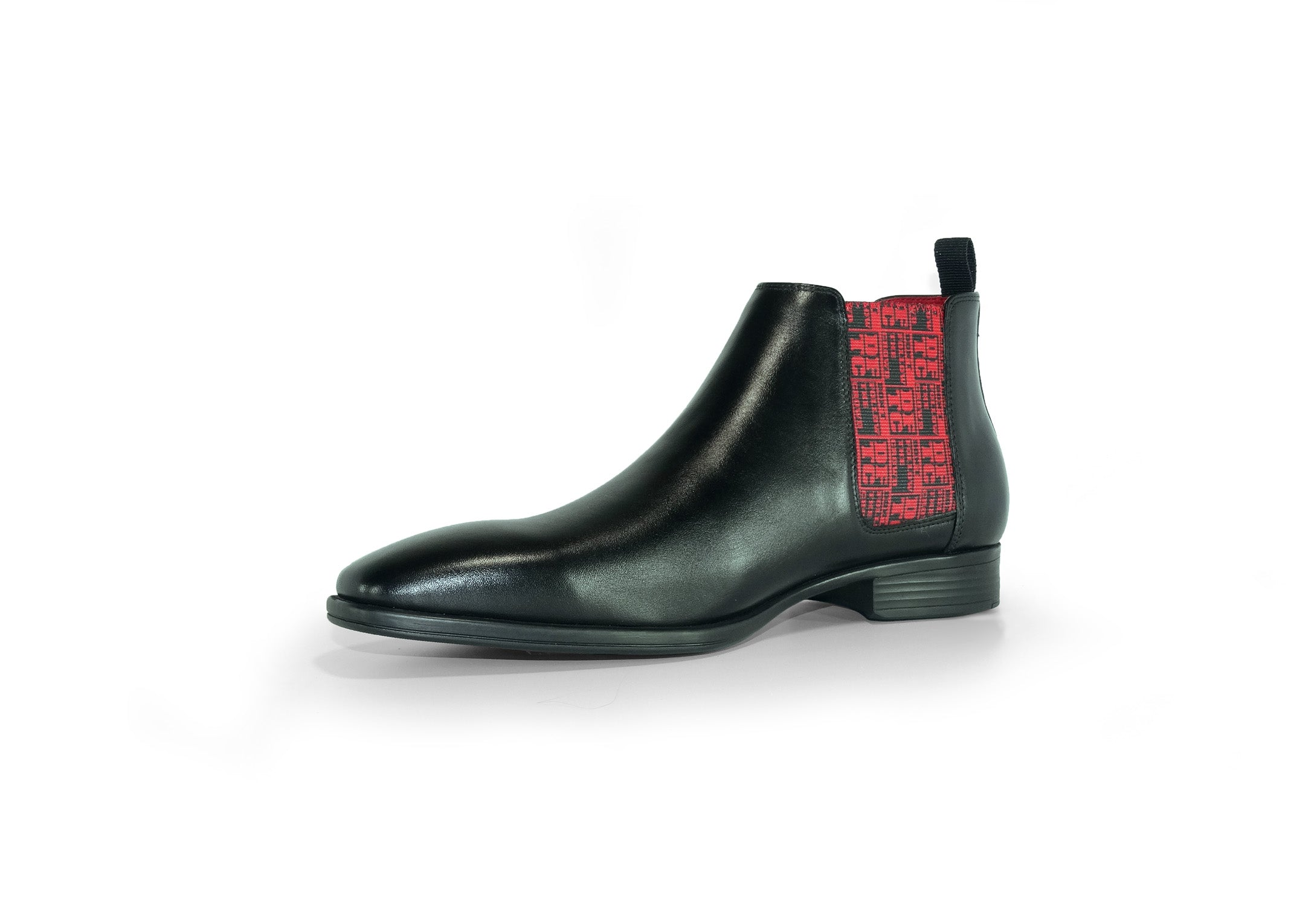 Black Mens Chelsea Boot - DFTC Pattern - quarter front view