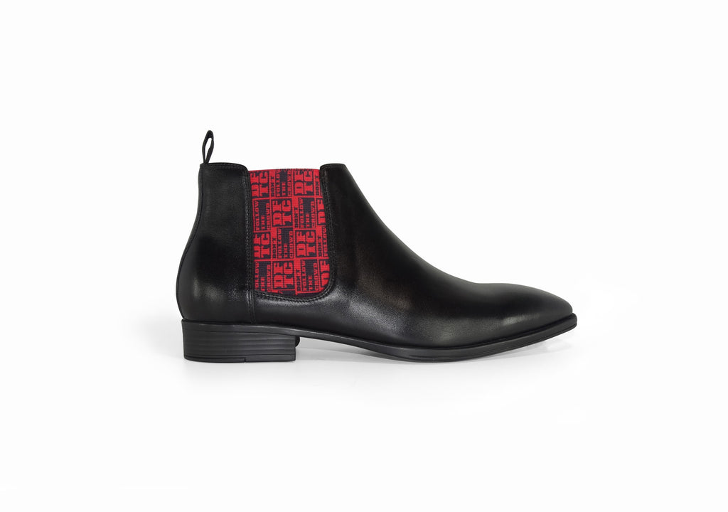 Black Mens Chelsea Boot - DFTC Pattern - side view