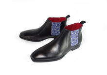 Load image into Gallery viewer, Black Mens Chelsea Boot - Medieval Flowers - pair quarter view