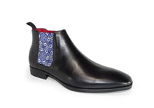 Load image into Gallery viewer, Black Mens Chelsea Boot - Medieval Flowers - quart side