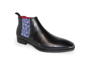 Black Mens Chelsea Boot - Medieval Flowers - quart side