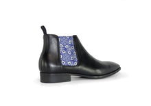 Load image into Gallery viewer, Black Mens Chelsea Boot - Medieval Flowers - rear quarter view