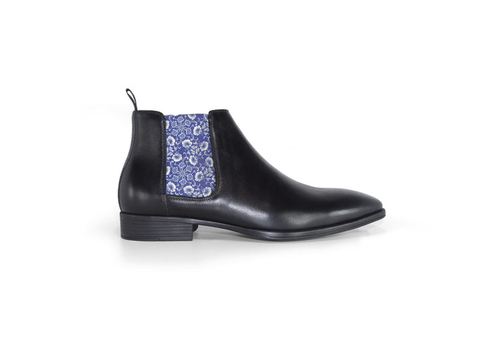 Black Mens Chelsea Boot - Medieval Flowers - side