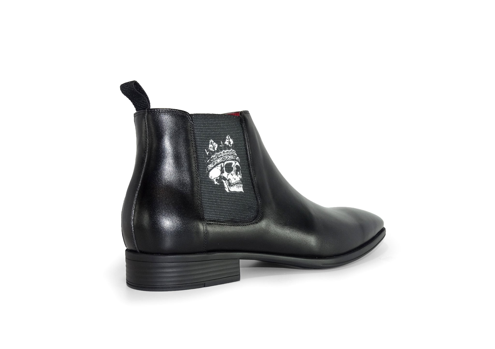 Black Mens Chelsea Boot - Skull King - rear quarter view