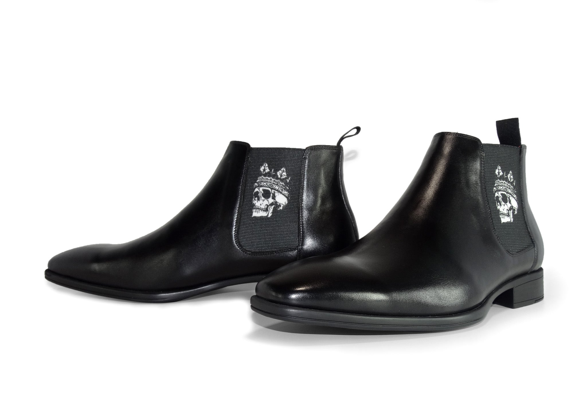 Black Mens Chelsea Boot - Skull King - pair