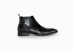 Black Mens Chelsea Boot - Skull King - side