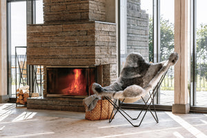 Sheepskin Butterfly Chair - Iceland Mariposa Natural Grey